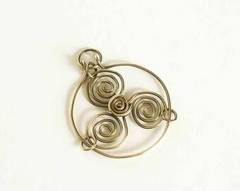 Brass Pendant Triskele Celtic Triskelion Celtic Spirals Pendant Only