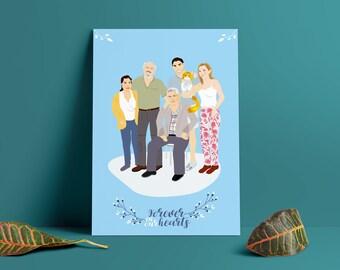 Custom Portrait ,Personalized gift ,family portrait ,wedding portrait,couple portrait,anniversary portrait , pet portrait, memorial portrait