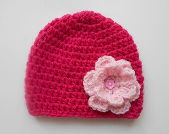 fuchsia and pink handmade poudree hand crochet wool hat baby girl