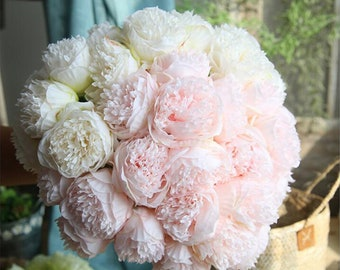Silk Flower Peony   5 Head Bouquet