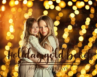 45 Holiday gold bokeh photo overlays