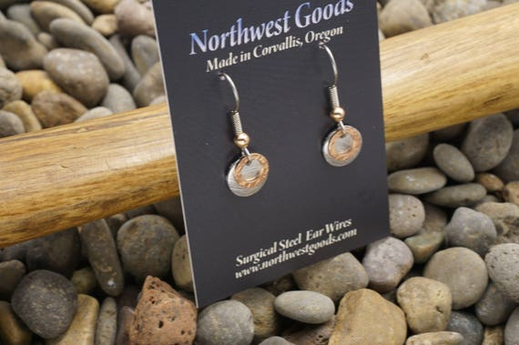 Aluminum and copper earrings on surgical steel ear wires