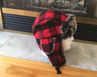 Black and red plaid trapper hat