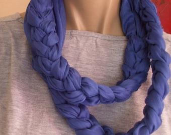 Very original blue textile necklace XXL