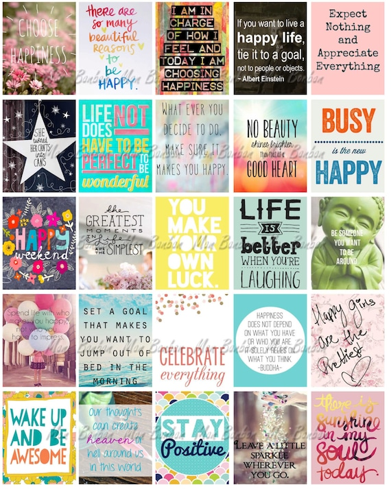 Happy inspirational and motivational printable sticker sheet print at home happy life planner quotes fits erin condren life planner