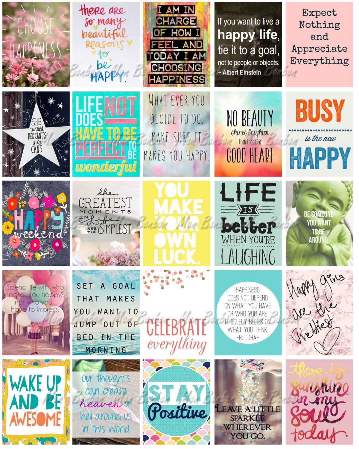 Happy Life Inspirational Quotes Happy Inspirational And Motivational Printable Sticker Sheet