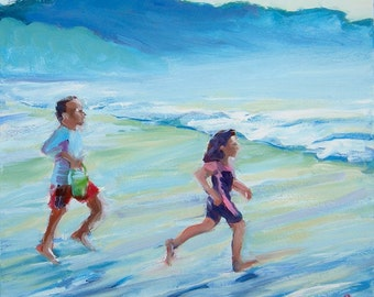Coast Fun 1 original Oregon Coast landscape portrait oil painting