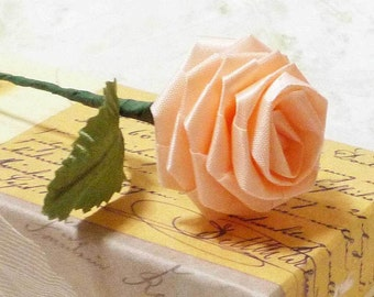 10 Single Origami Roses in Peach Pink for Gift Giving, Decor, Anniversary, Ribbon Roses