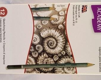 Derwent 12 Sketching pencils- Derwent graphite pencils- drawing graphite pencils- gift for an artist- drawing pencils- pencils