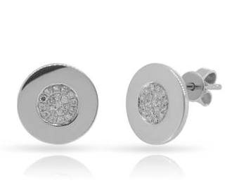 Round Tiny Diamond Stud Earrings 14k Gold - 0.112 Ct. White Gold