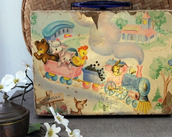 Vintage Margaret Holbrook Little Animal Train Child's Suitcase Doll Case Easter Farmhouse Shabby Chic Kid Toyville Playland Toy Nursery