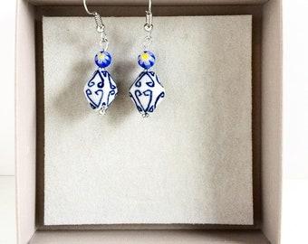 Delft blue ceramic earrings