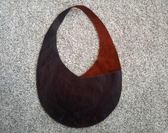 Reclaimed mahogany leather shoulder bag/purse