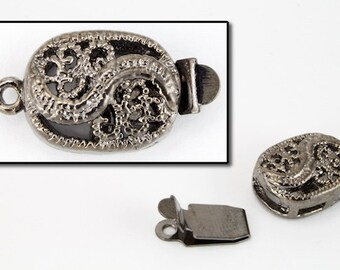 17mm x 10mm Gunmetal Filigree Box Clasp #CLC162