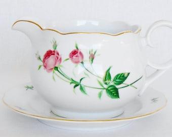 Vintage Christineholm Rose Porcelain Gravy Bowl with Attached Underplate, Vintage Gravy Boat with Attached Underplate, Vintage Serveware,