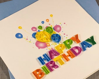 3D Blank Quilled Card Happy Birthday Quilling Card