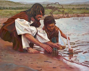"Paper Print ""Stilling Waters"" by Rod Peterson oil painting of Christ and Child Christian LDS picture of Jesus Christ"