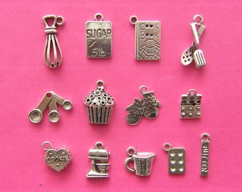 The Ultimate Baking Collection - 13 different antique silver tone charms
