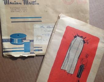 MARIAN MARTIN No 9042 Woman Size 28 Skirt Pattern.  WWII era