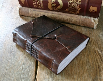 """Leather Journal . """"Words are things, and a small drop of ink..."""" Lord Byron . dark distressed brown . handmade handbound (320 pgs)"""
