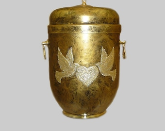 Metal Cremation Urn for Ashes with 2 Doves and A Heart In The Middle Emblem