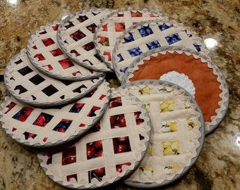 Fruit Pies quilted/ Hot Pad-hotpads/ pot holders / trivet / pie hot pad/ mug rug