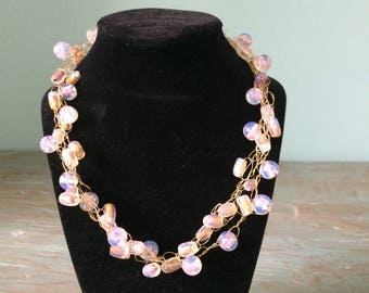 Pink and Gold Three-Strand Necklace