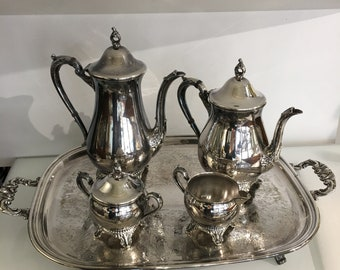 Vintage Wm A Rogers Silverplate Coffee Tea Set with Tray, Creamer and Sugar Bowl,Coffe Pot and Tea Pot