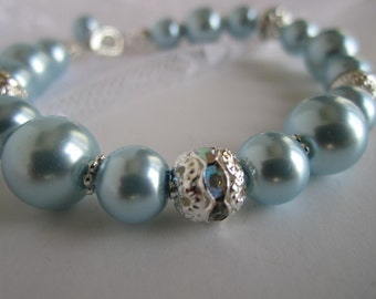 Light Blue Bridesmaid Bracelet Maid of Honor Pastel Blue Wedding Pale Blue Bridal Gift Bridal Party