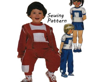 """McCall's 9220 Girl's and Boy's Color Block Jacket, T-Shirt, Pants, Shorts Sewing Pattern Size 6 Chest 25""""/ 64cm Vintage 1980's UNCUT"""