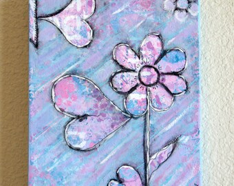 OOAK Original Mixed Media Art Original Acrylic Painting on 8 x 10 Canvas by Charlotte Littlejohn Pink And Blue Flower And Hearts