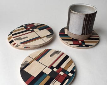 geometric coasters, BAUHAUS coasters, mid century modern coasters, wood coasters, drink coasters, destijl, prairie style, modern coasters