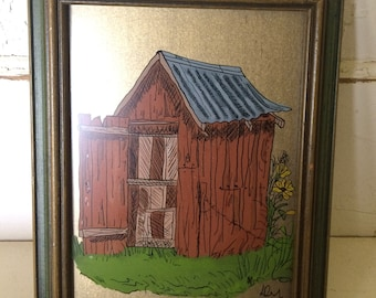 Antique Hand Painted Rustic Barn in Original Frame