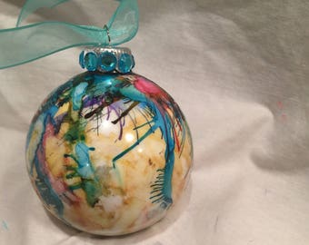 Pink Yellow Blue Hand Painted Drip Alcohol Ink Glass Christmas Ornament Turquoise Rhinestones