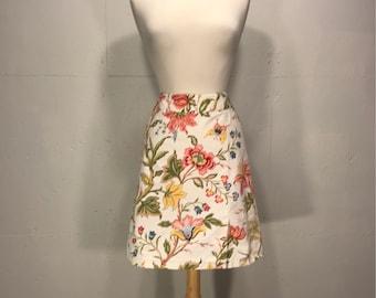 floral print 90's Talbots skirt  cotton floral print botanical skirt cotton skirt  spring garden party skirt
