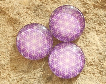 Glass cabochon 25 mm purple flower of life