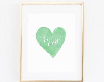 DIGITAL Te Amo Spanish Nursery Print, I Love You Nursery Wall Art, Spanish Nursery Decor, Printable Art, Emerald Green Wall Decor- ANY SIZE