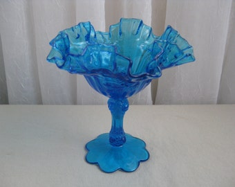 Vintage Cabbage Rose Colonial Blue Glass Comport Pedestal Dish Fenton