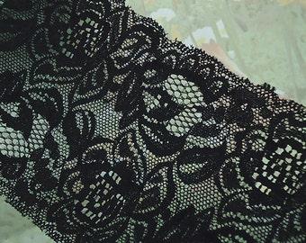 Black Elastic Lace 4 inch wide Trim Black Stretch Lace diy Headbands Lingerie Bra Elastic Lace by the yard