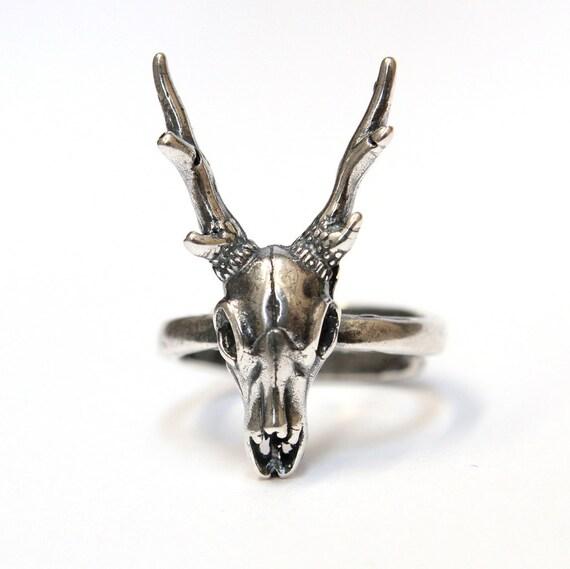 Sterling Silver Deer Skull Ring
