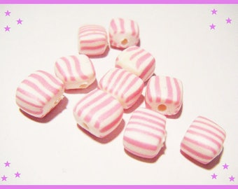 10 charms Fimo polymer clay pink pastel striped beads