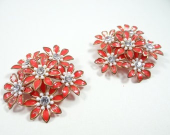 Vintage 1940s Multi-Petal Flower Earrings with Rhinestone Centers - Wonderful Post War Charm