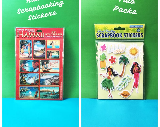 Hawaii Themed Scrapbooking Stickers, Two Packs