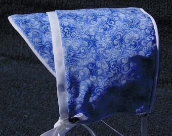 Baby Boy Blue Swirl Hat with White Trim