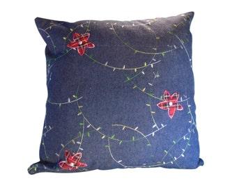 Decorative pillow cover, Denim pillow cover, pillow cover, 20X20 pillow cover, plaid pillow cover, denim plaid pillow cover, jeans pillow