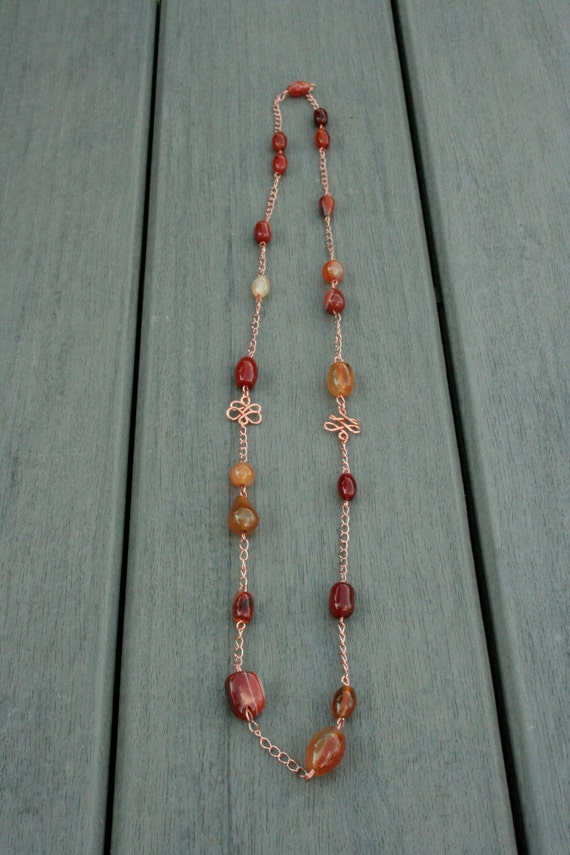 Copper and Agate Necklace // Gifts for Her