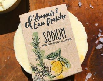 Sodium SOAP bar with sea salt, lemon and Rosemary