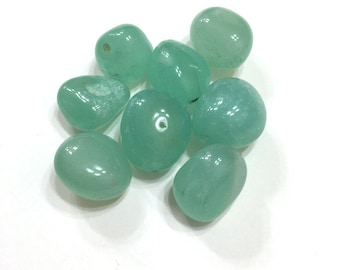 4 pieces 22mm Green Agate Beads, Gemstone Beads, Destash Beads