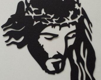 CNC Plasma Cut Jesus Crucifixion Crown Of Thorns Metal Sign Powder Coated or Raw Steel