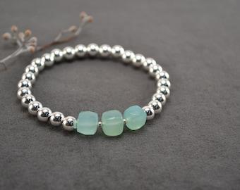 Blue Chalcedony Silver Bracelet, Sterling Bracelet, Silver Bead Bracelet, Silver Beaded Bracelet, Stretch Bracelet,